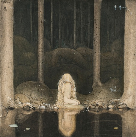 john_bauer_-_princess_tuvstarr_gazing_down_into_the_dark_waters_of_the_forest_tarn-_-_google_art_project